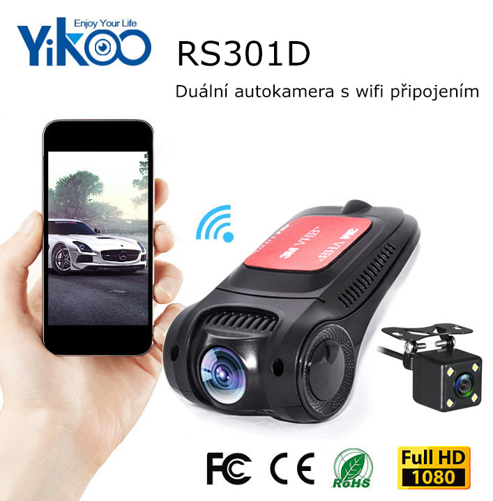 Skrytá duální kamera do auta Yikoo RS301D - FullHD, WiFi